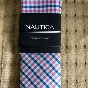 Nautica pink and blue tie + pocket square BNWT